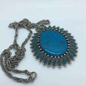 JJ Faux Turqoise Pendant Vintage Necklace